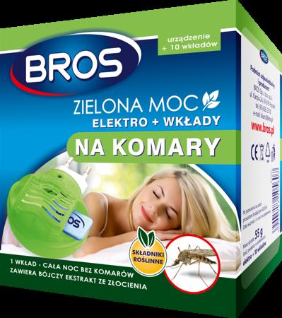 Bros Elektro.+wkłady A'10 na komary zielona Moc