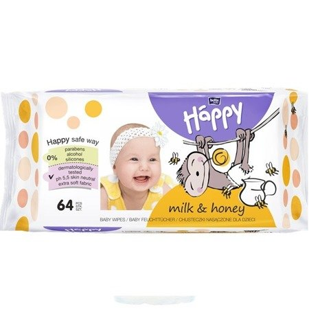 Chusteczki Bella Happy, Mleko i Miód 64 SZT