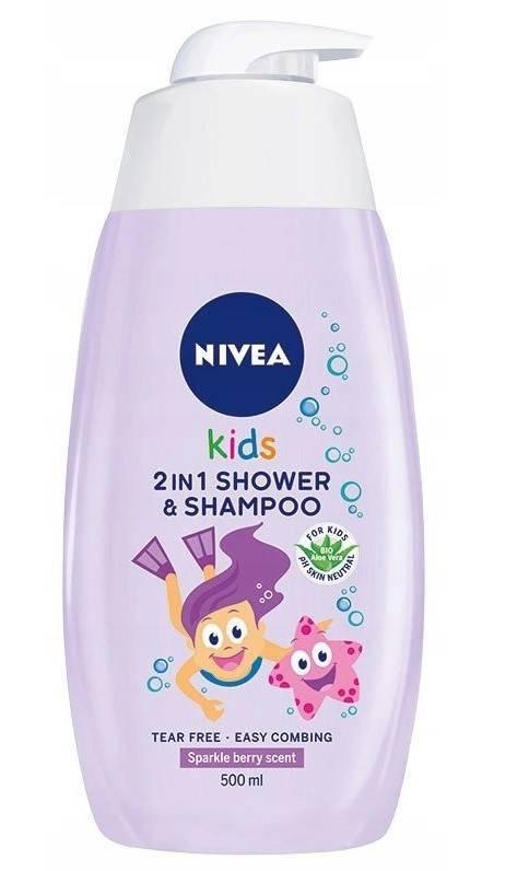 Nivea Kids żel do mycia ciała i włosów 2w1 zapach jagód 500ml