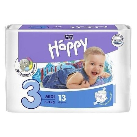 Pieluszki dla dzieci Happy Midi 13 SZT