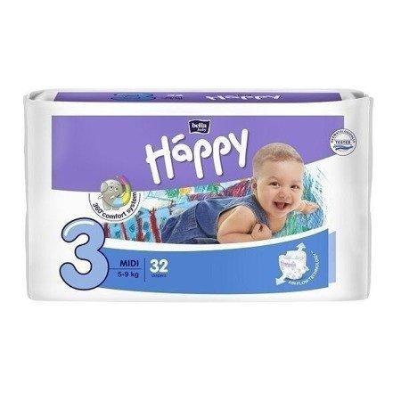 Pieluszki dla dzieci Happy Midi 32 SZT