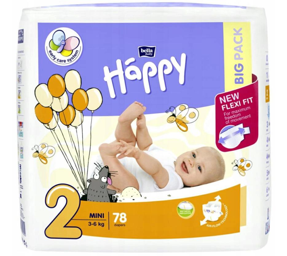 Pieluszki dla dzieci Happy Mini 78 SZT